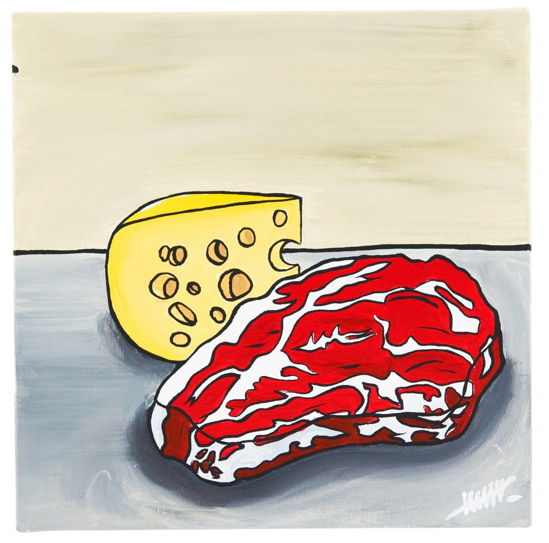 Cheese and meat Vanitas